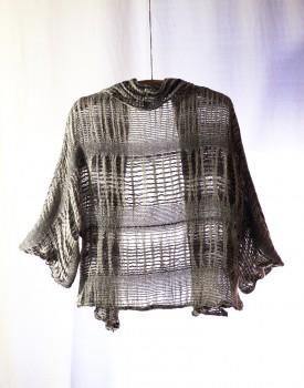 shawl collar cardigan- hand weaving 003-b