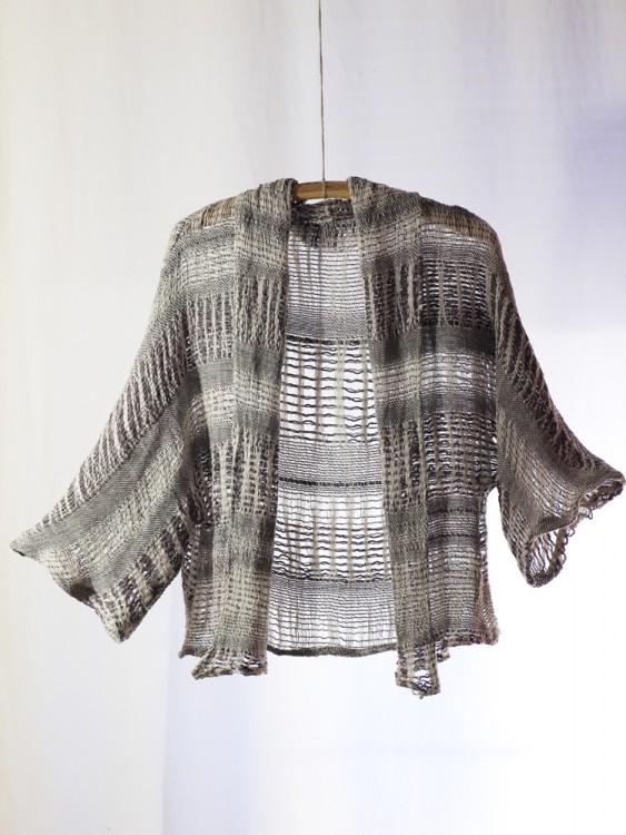 shawl collar cardigan- hand weaving 003-c