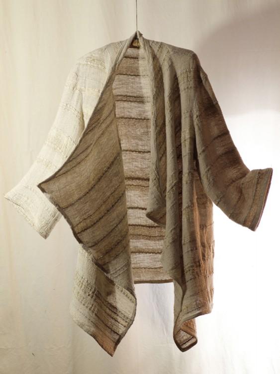 long gold cardigan- hand weaving 009-c