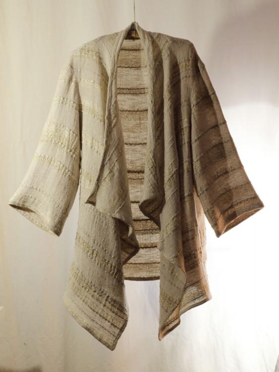 long gold cardigan- hand weaving 009-d