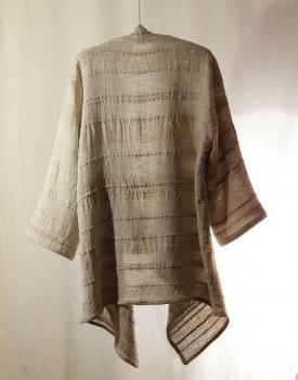 long gold cardigan- hand weaving 009-e